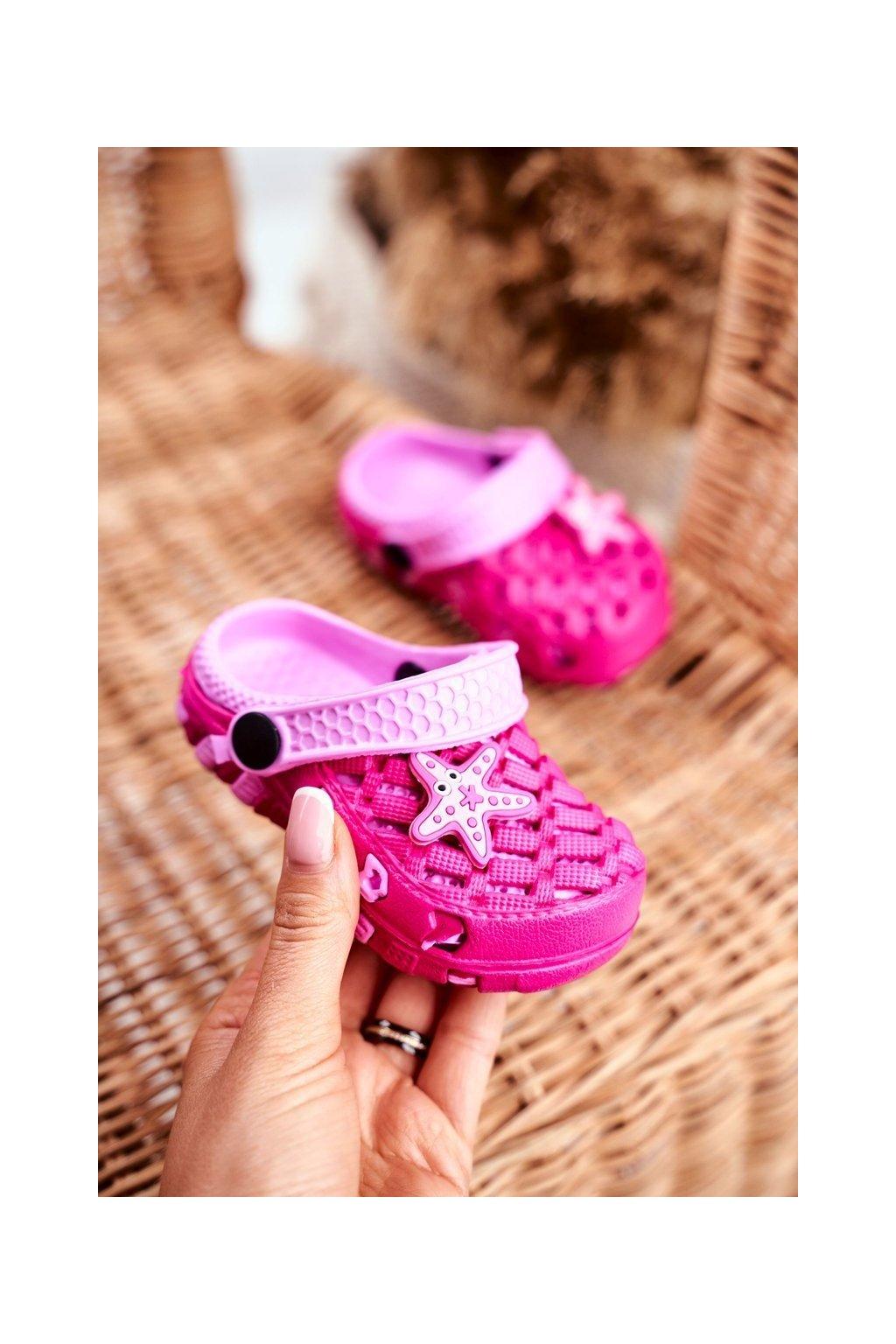Detské šľapky farba ružová kód obuvi 6301 FUCHSIA/PINK