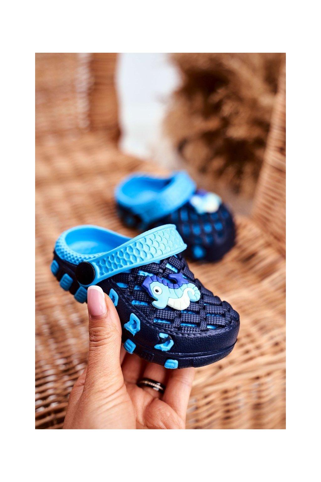 Detské šľapky farba čierna kód obuvi 6301 NAVY/BLUE
