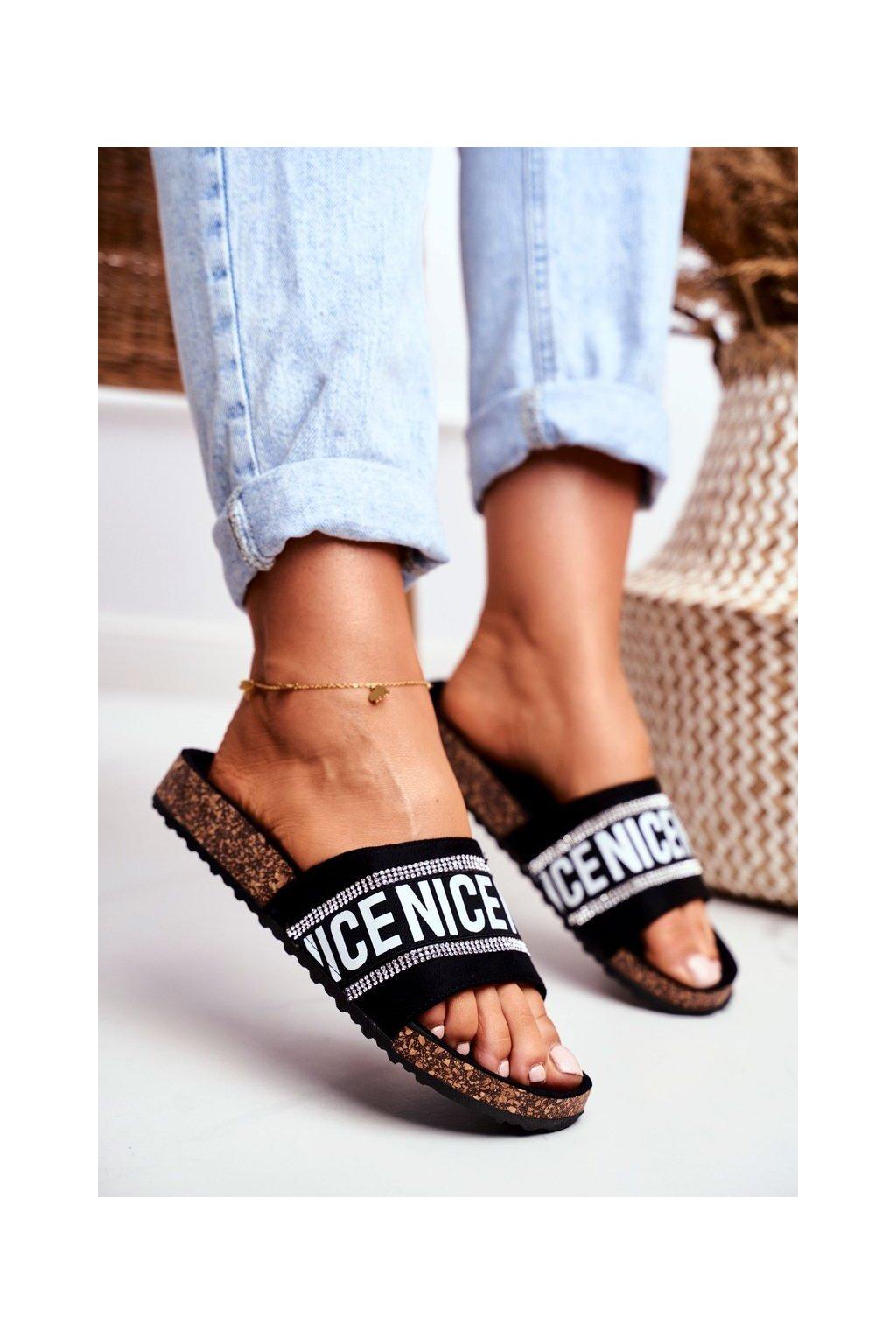 Dámske šľapky farba čierna kód obuvi 20SD10-2450 BLACK