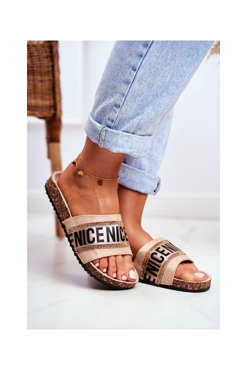Dámske šľapky farba hnedá kód obuvi 20SD10-2450 BEIGE
