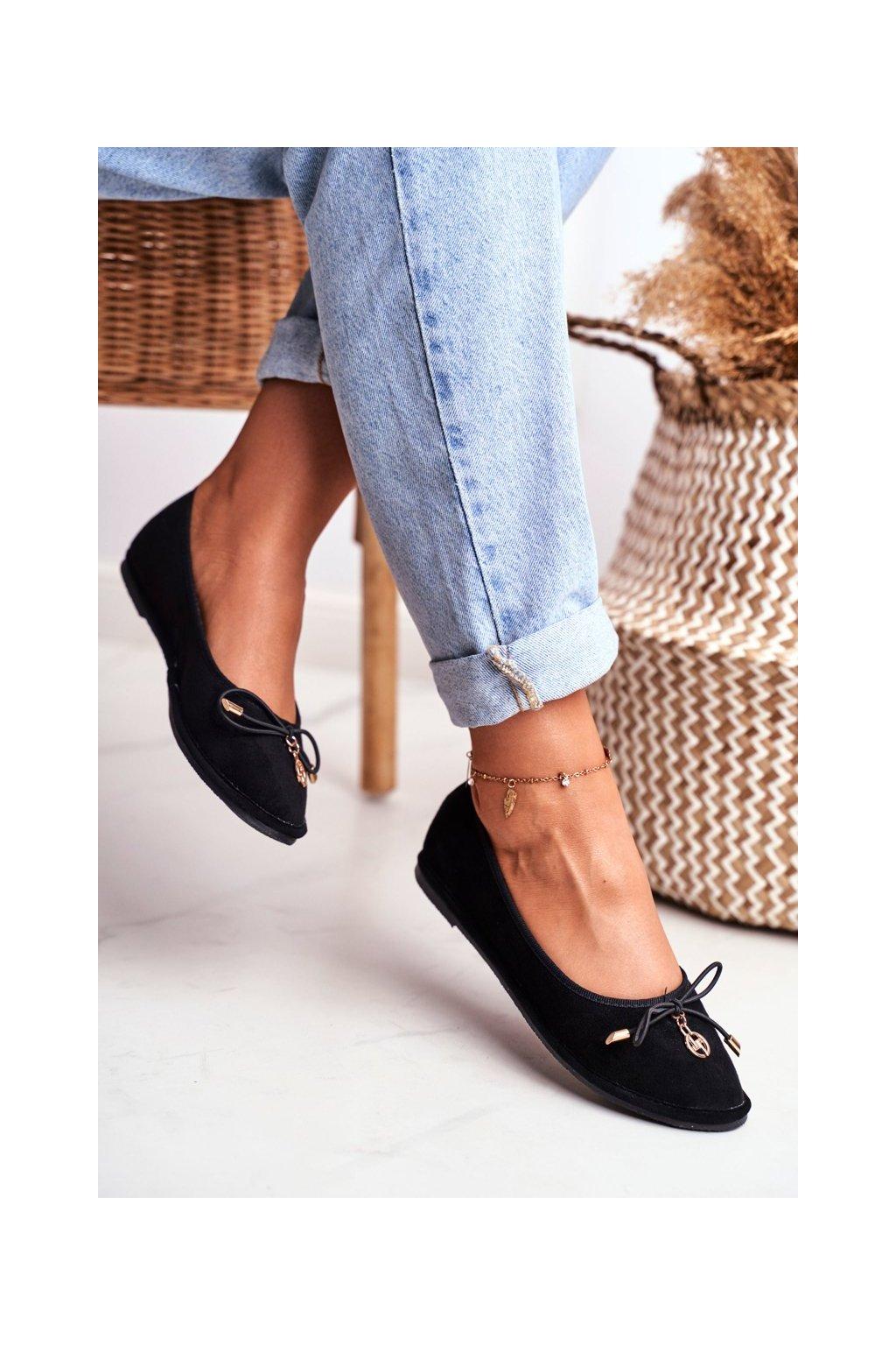 Dámske balerínky farba čierna kód obuvi 2018-5 BLACK
