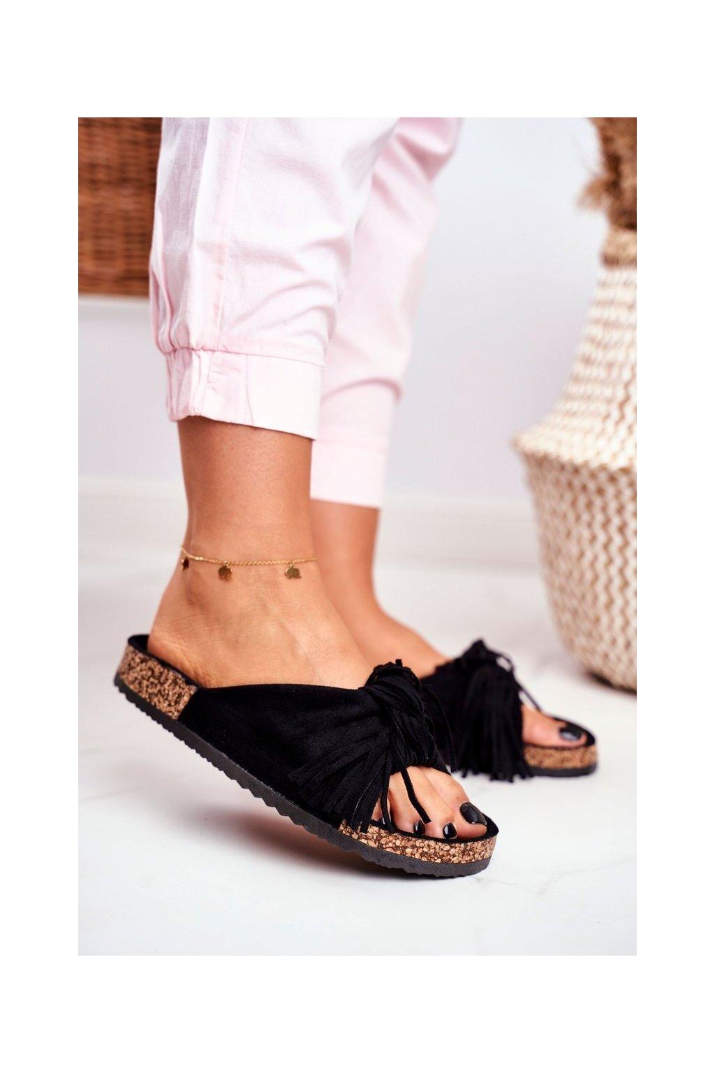 Dámske šľapky farba čierna kód obuvi AM027 BLACK