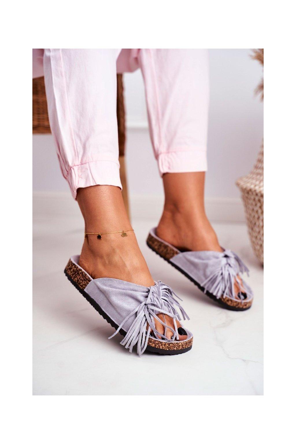 Dámske šľapky farba sivá kód obuvi AM027 GREY