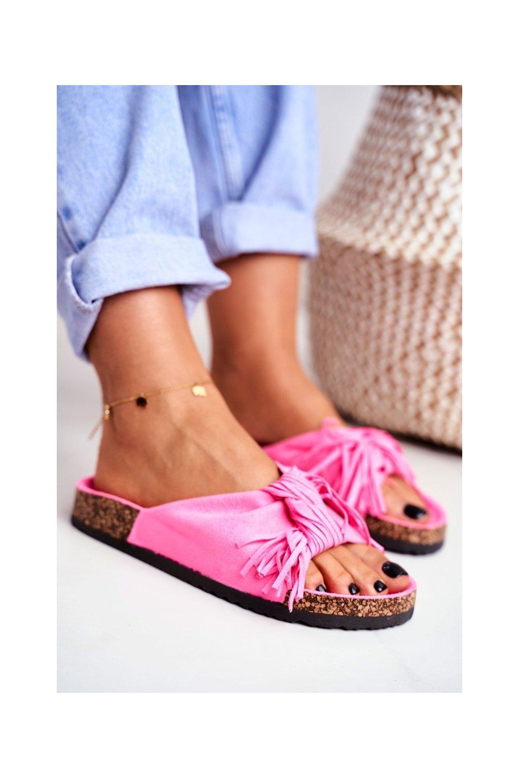 Dámske šľapky farba ružová kód obuvi AM027 FLUO.FUCHSIA