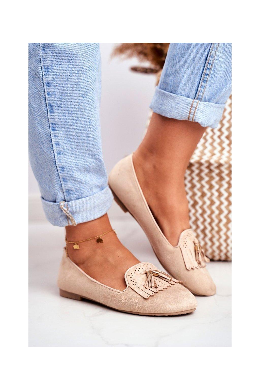 Dámske mokasíny farba hnedá kód obuvi FM051 BEIGE