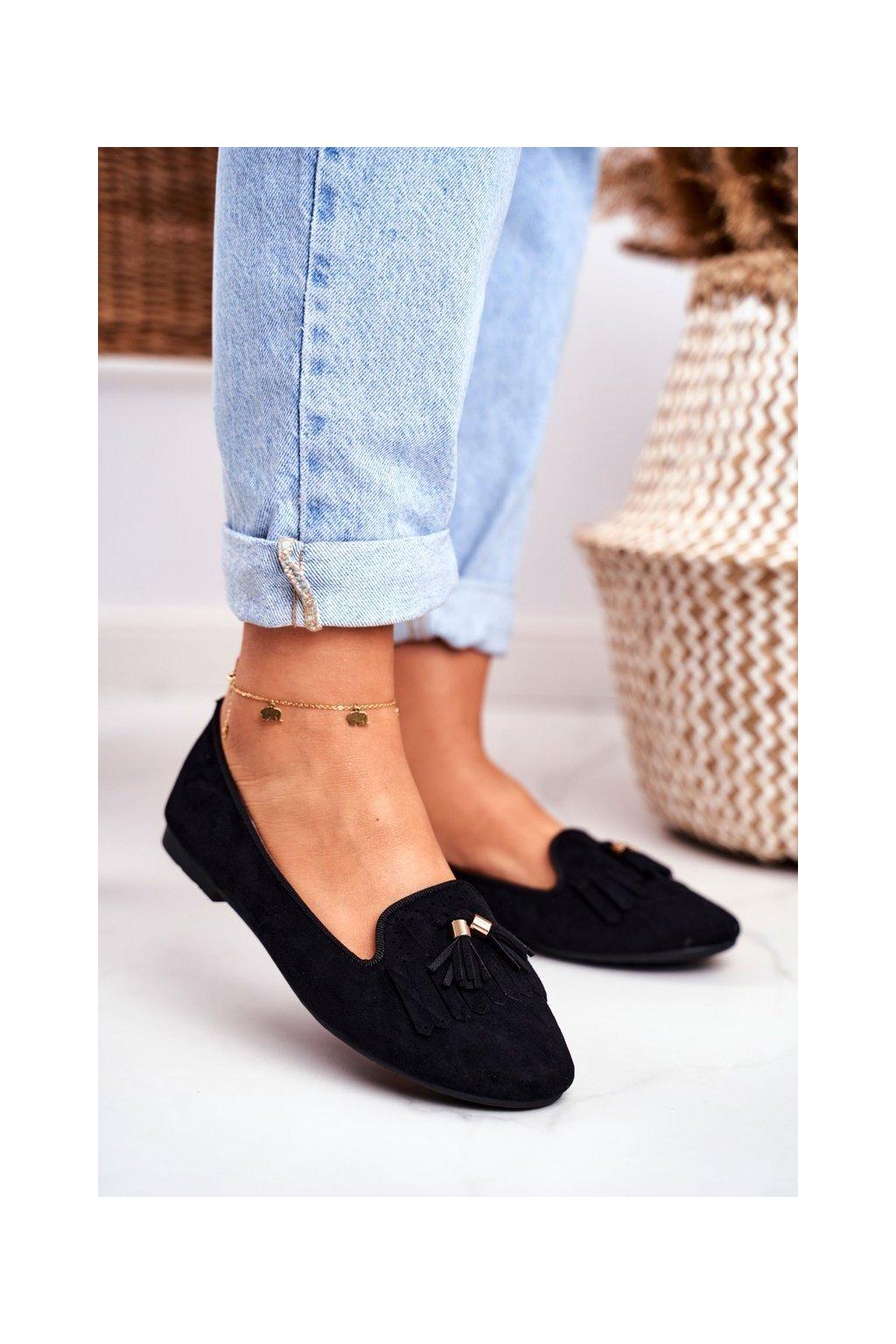 Dámske mokasíny farba čierna kód obuvi FM051 BLACK