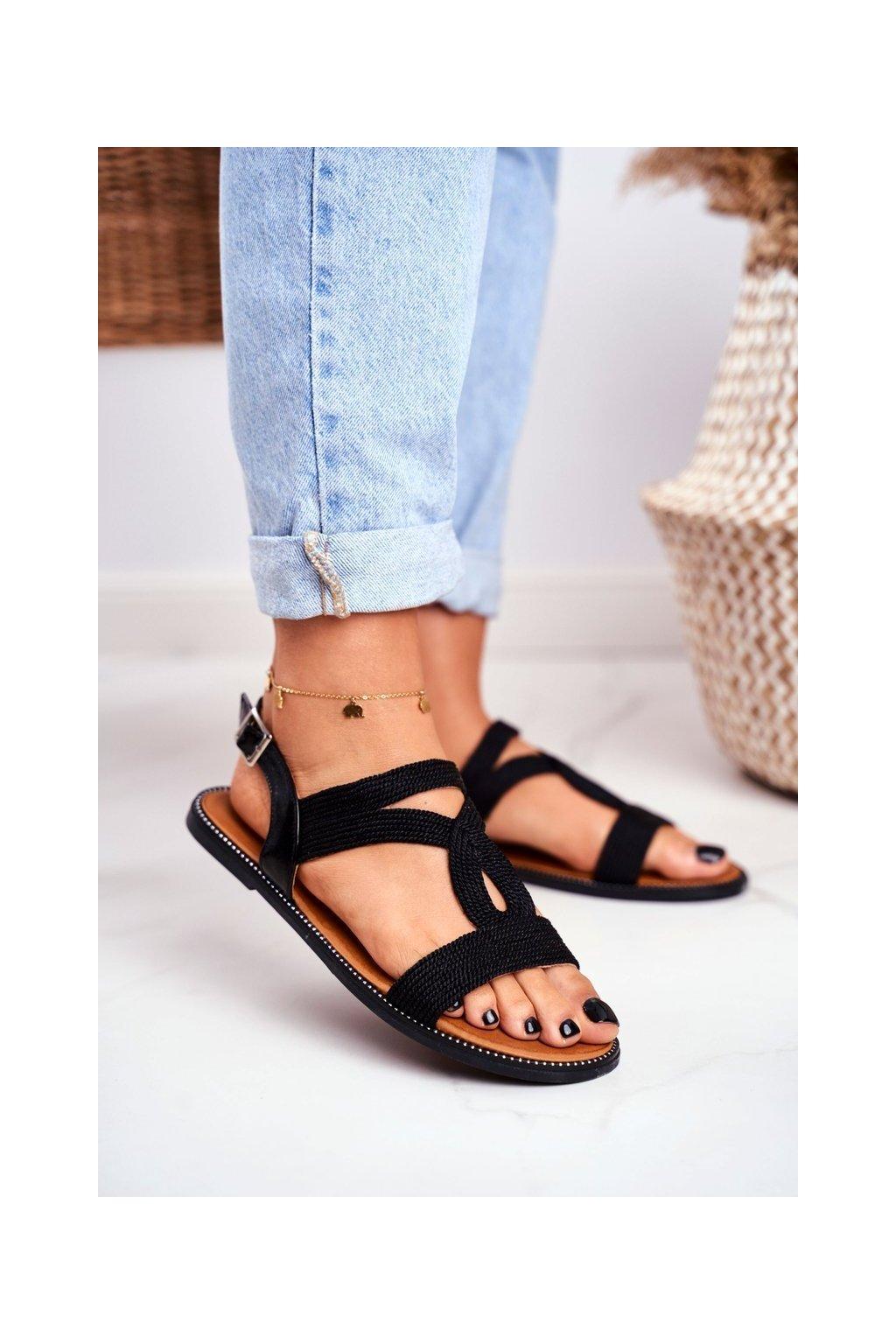 Dámske ploché sandále farba čierna kód obuvi PA-372 BLACK