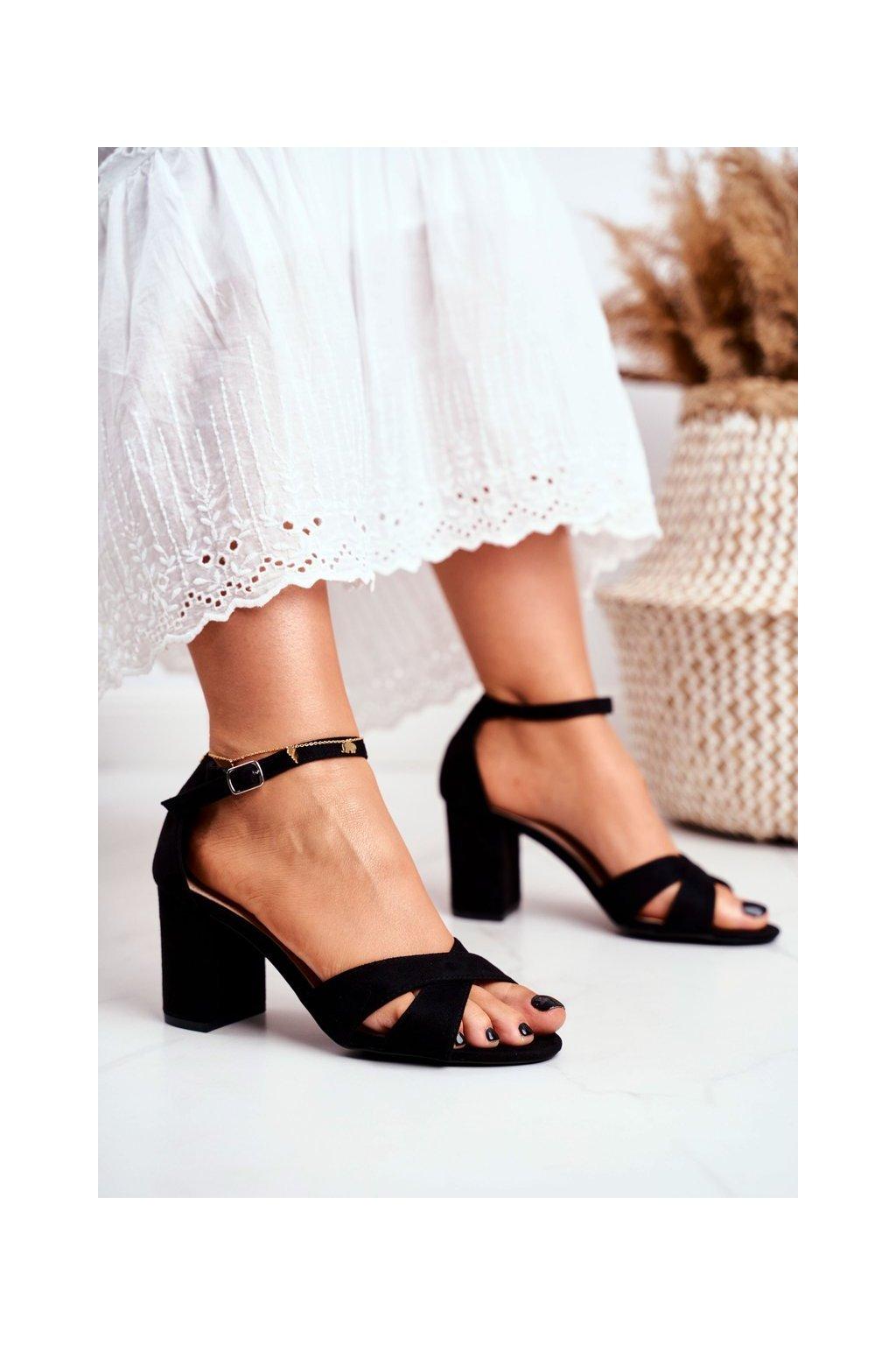 Dámske sandále na podpätku farba čierna kód obuvi 1-124 BLACK