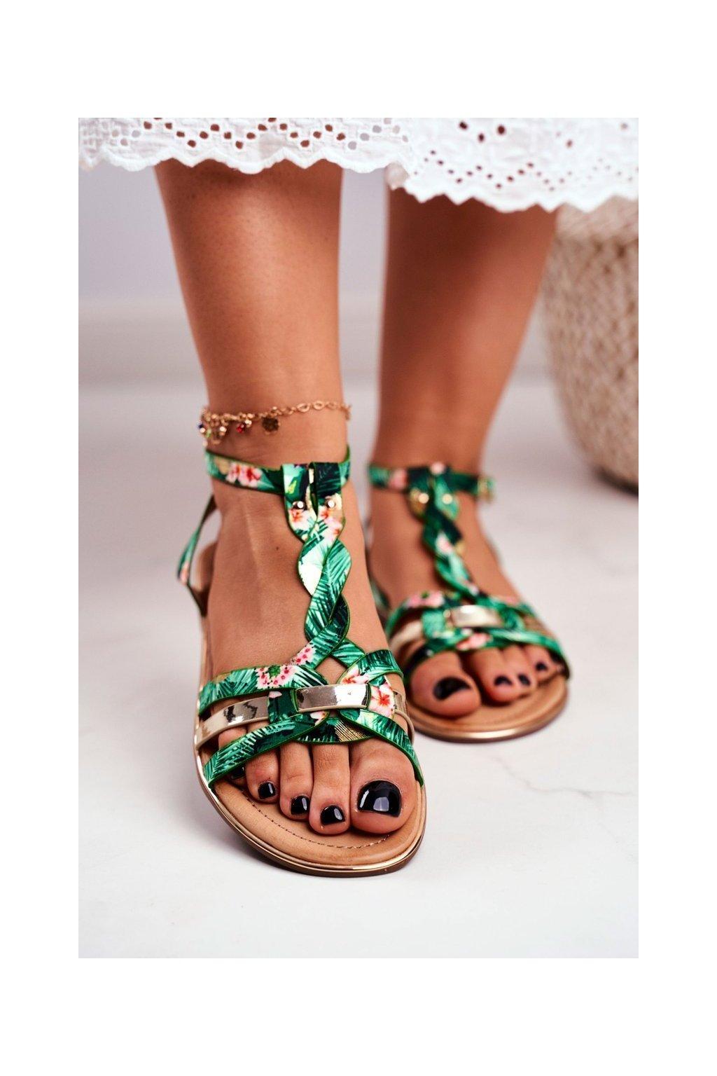 Dámske sandále s plochou podrážkou farba zelená kód obuvi JH128 FLOWER.GREEN