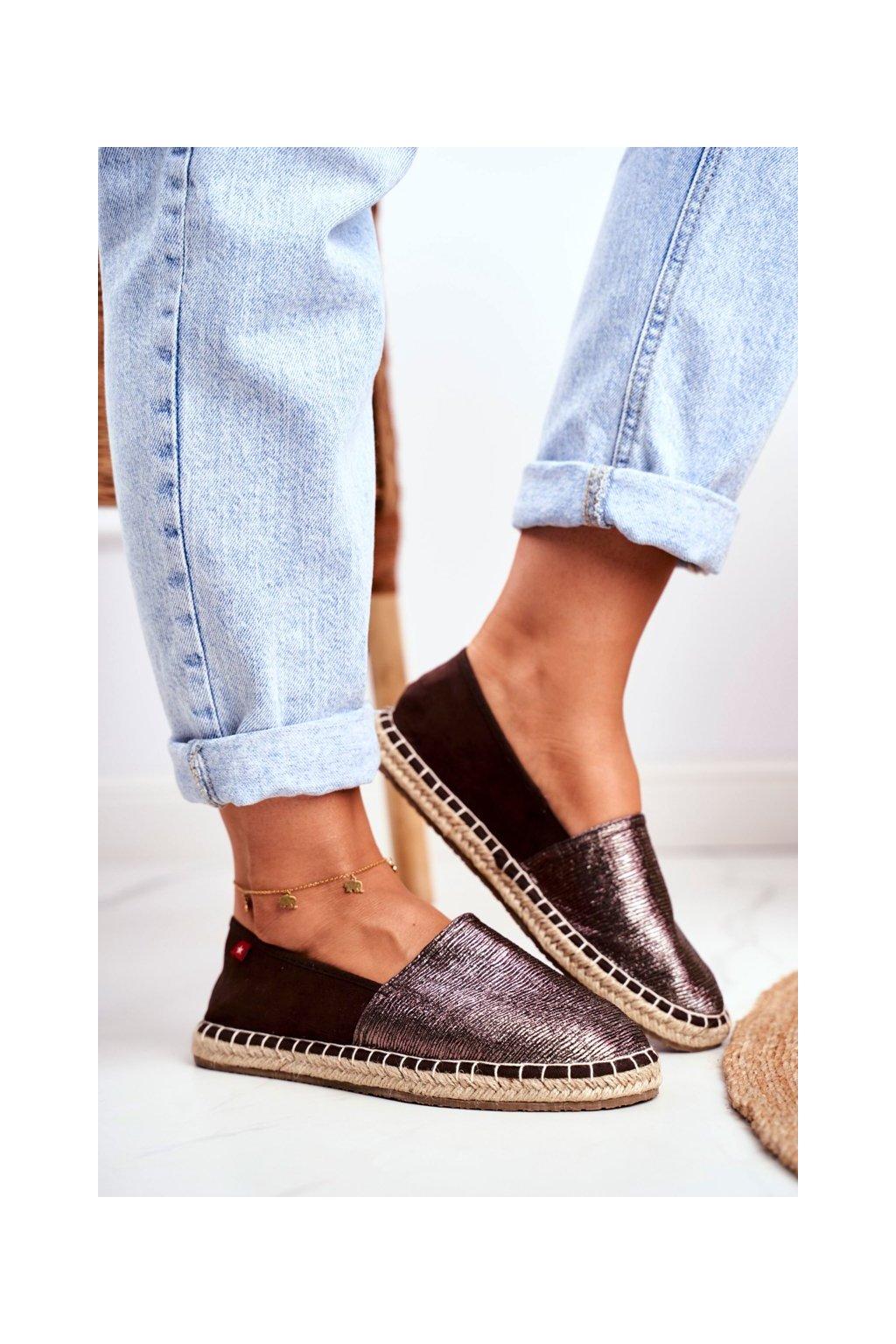 Dámske espadrilky farba hnedá kód obuvi DD274A146 BROWN