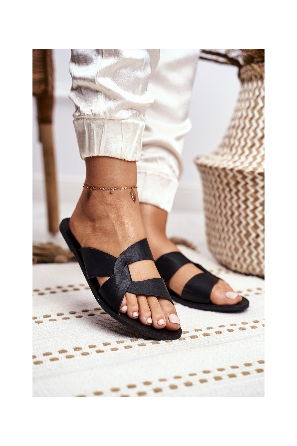 Dámske šľapky farba čierna kód obuvi T512 BLACK