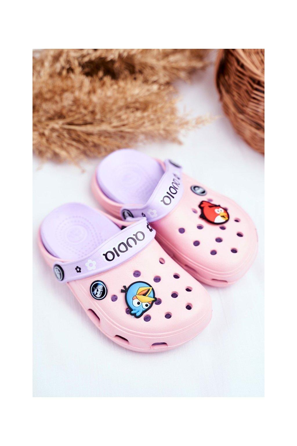 Detské šľapky farba ružová kód obuvi 1127 Pink/Purple