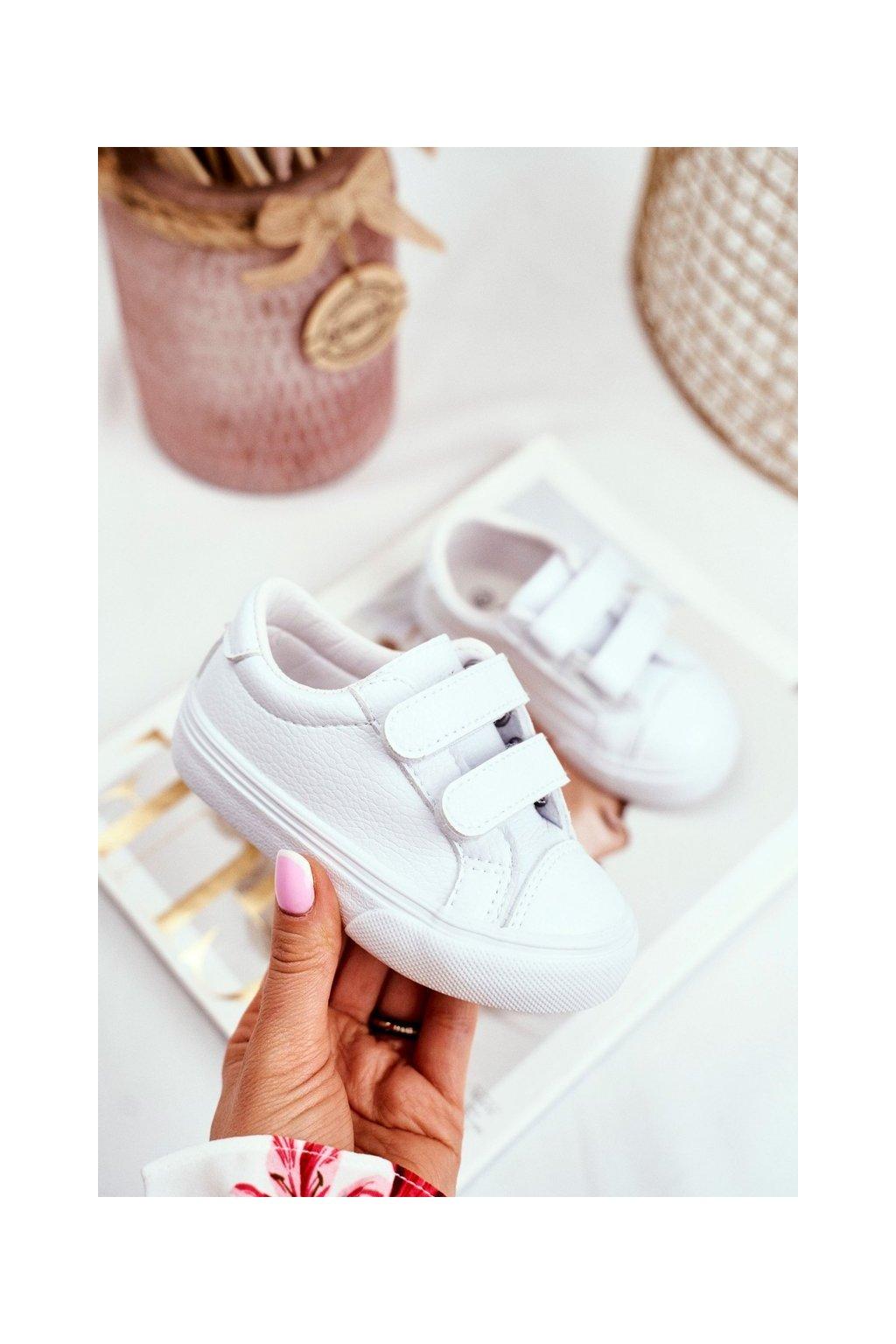 Detské tenisky na suchý zips biele Pergomo NJSK xc236