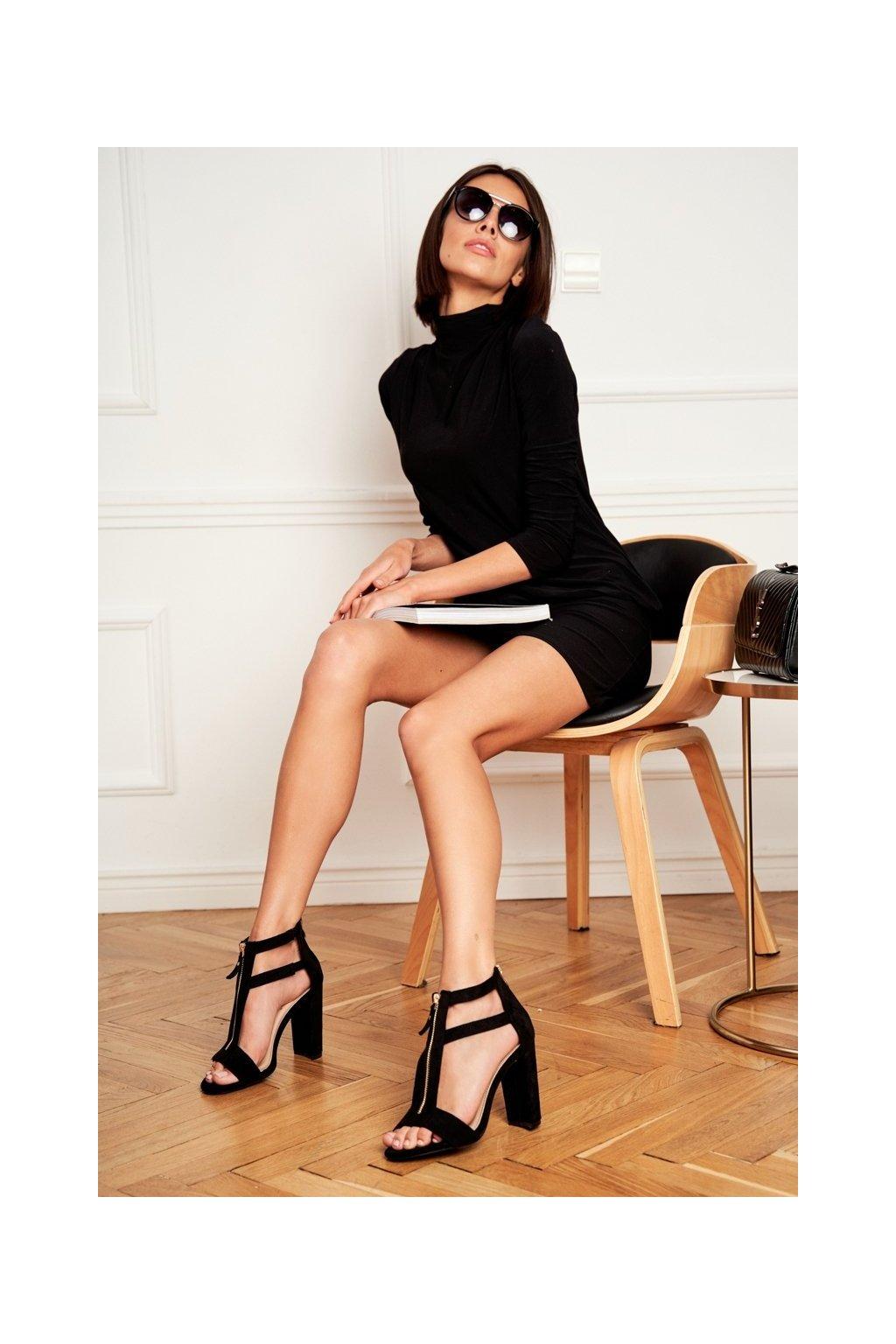 Dámske Sandále na podpätku Semišové čierne Folly NJSK LE070