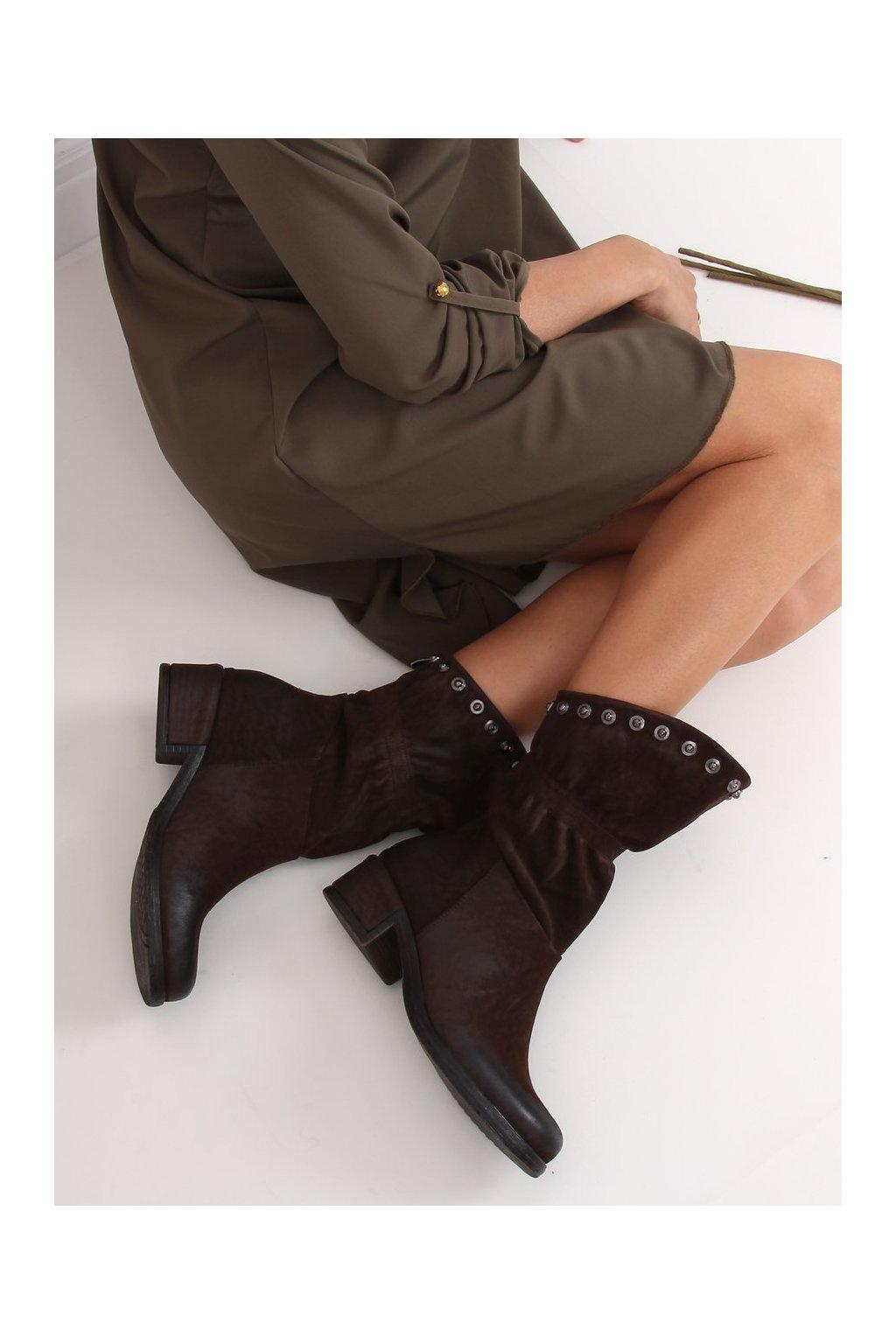 Dámske členkové topánky hnedé na širokom podpätku ST06P
