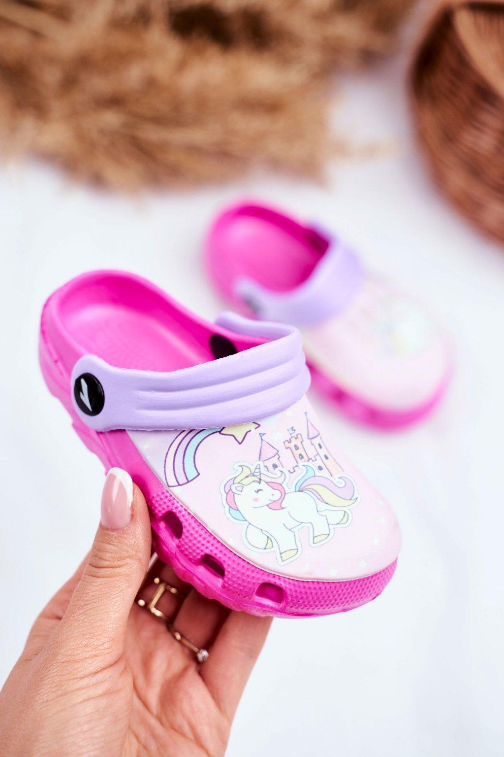 Detské šľapky farba ružová kód obuvi 6326-1 / 6326 FUSHIA/PURPLE