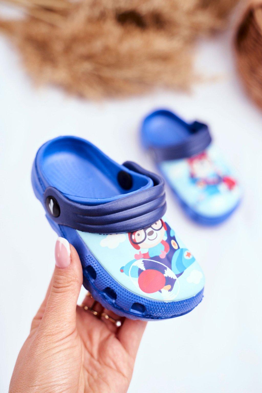 Detské šľapky farba modrá kód obuvi 6326 ROYAL/NAVY