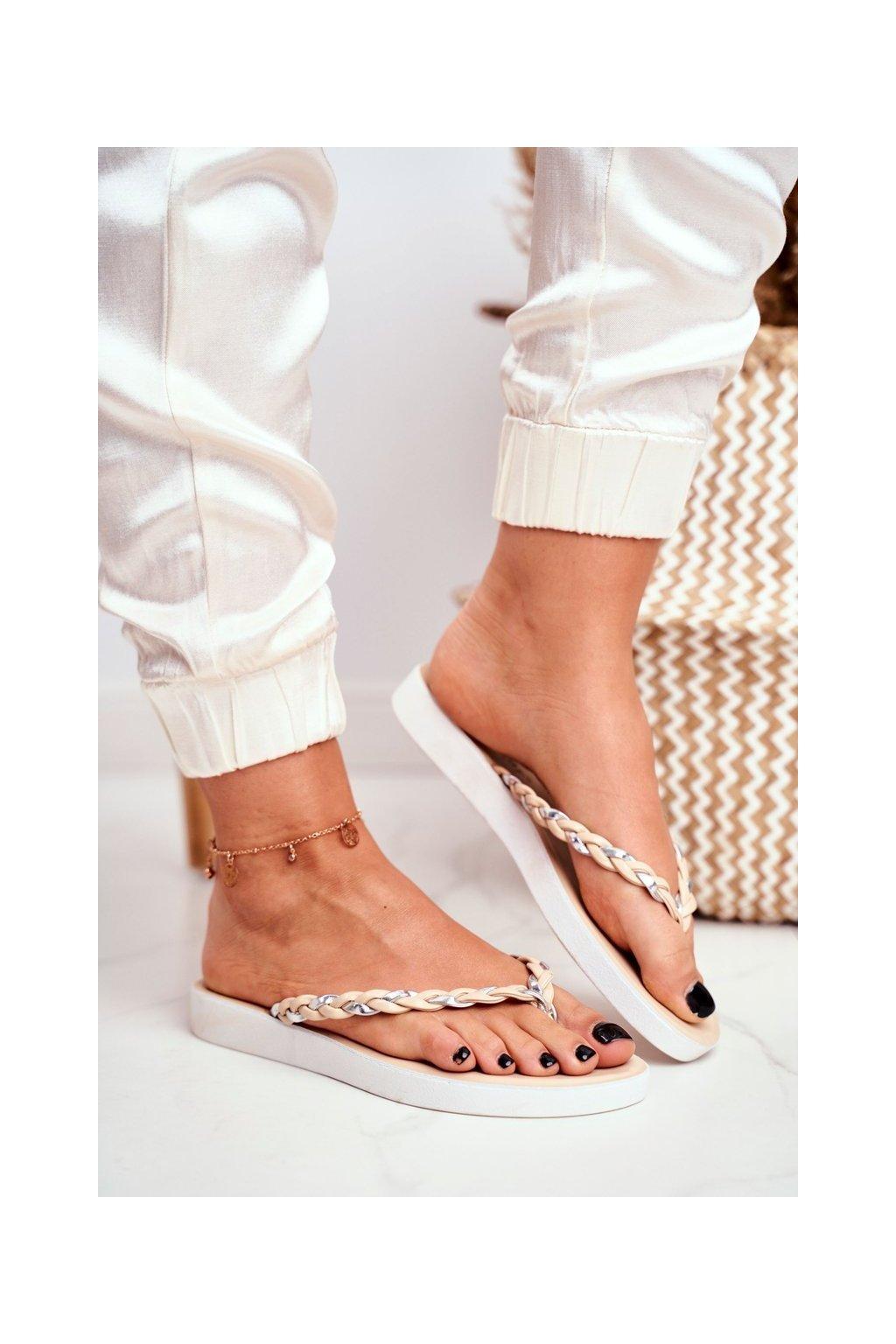Dámske šľapky farba hnedá kód obuvi NK16 BEIGE