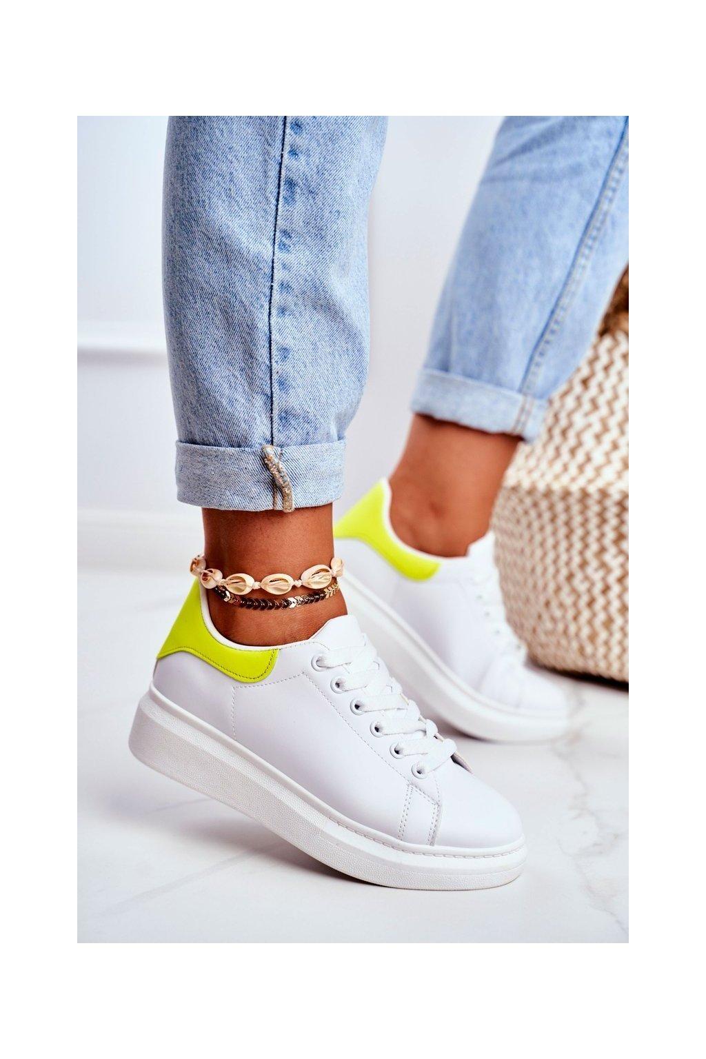 Dámske tenisky farba biela kód obuvi F58-1 WHITE/YELLOW