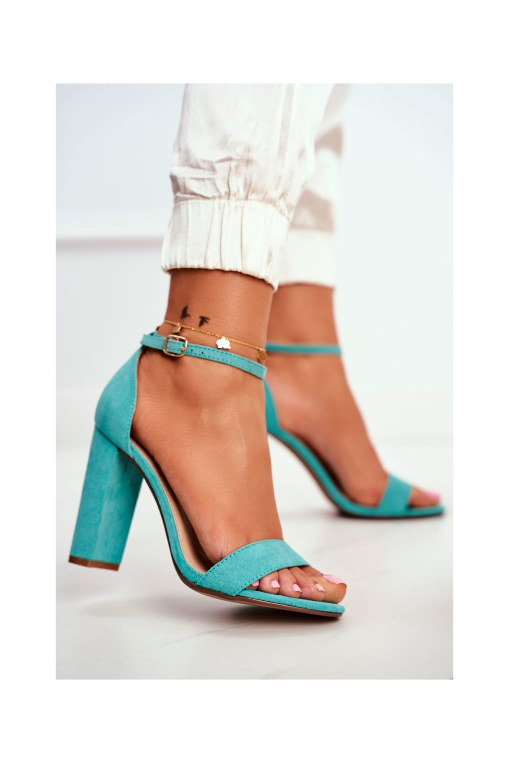 Dámske Sandále na podpätku Semišové zelené Anastasie NJSK J76-12