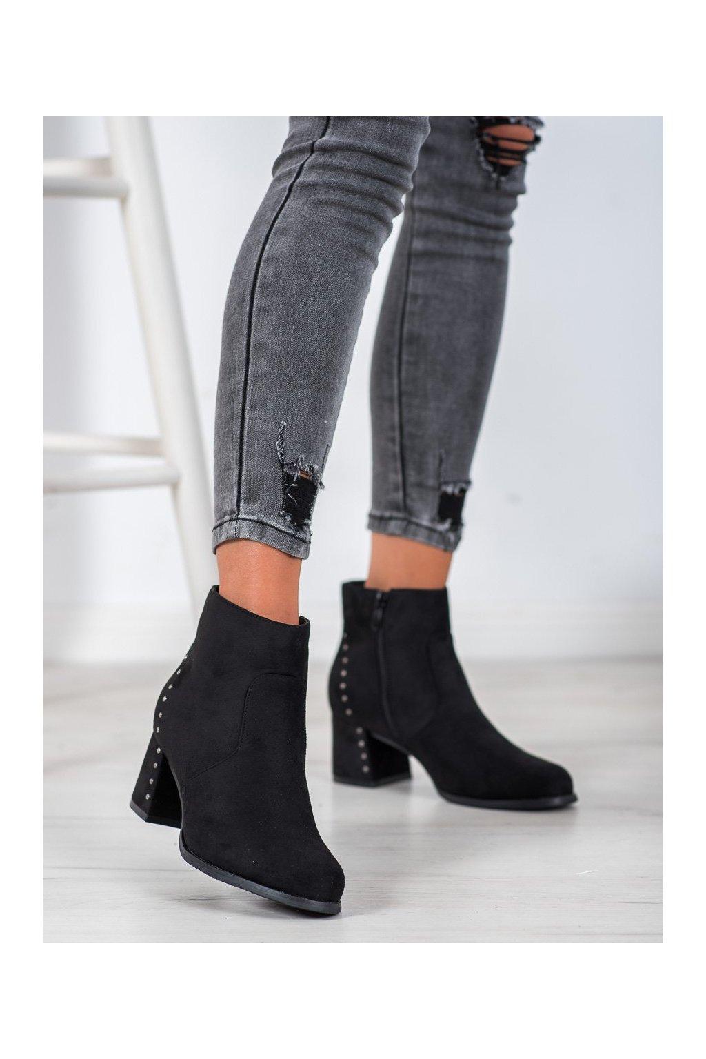 Čierne dámske topánky Vinceza kod HX21-16174B
