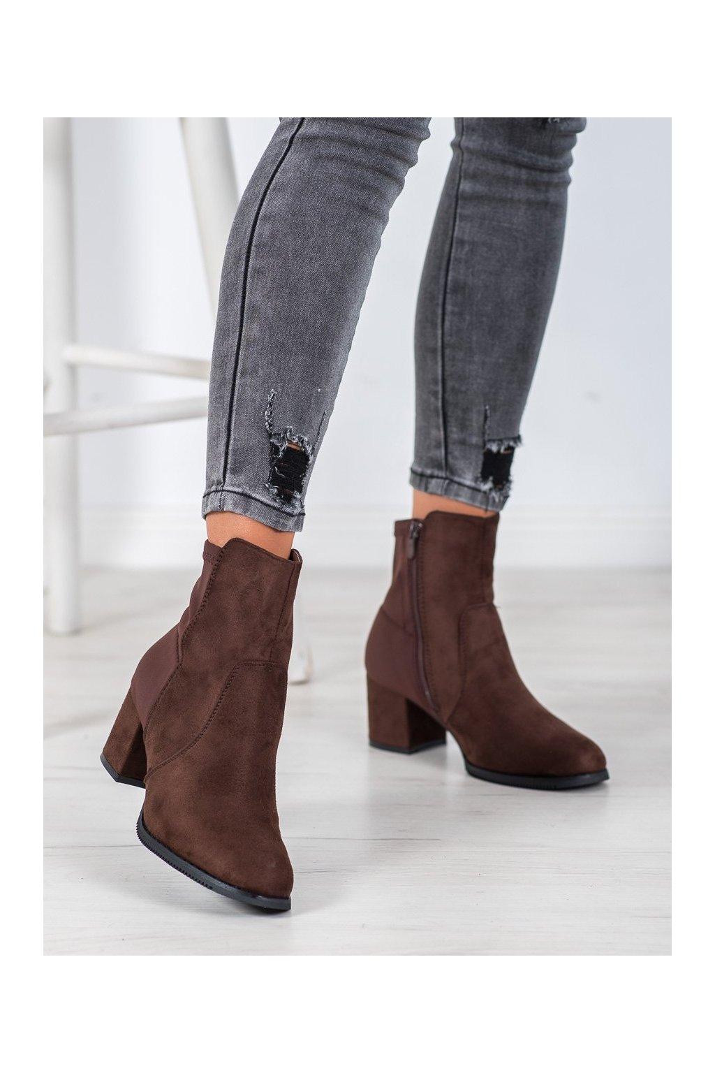 Hnedé dámske topánky J. star kod V19043BR