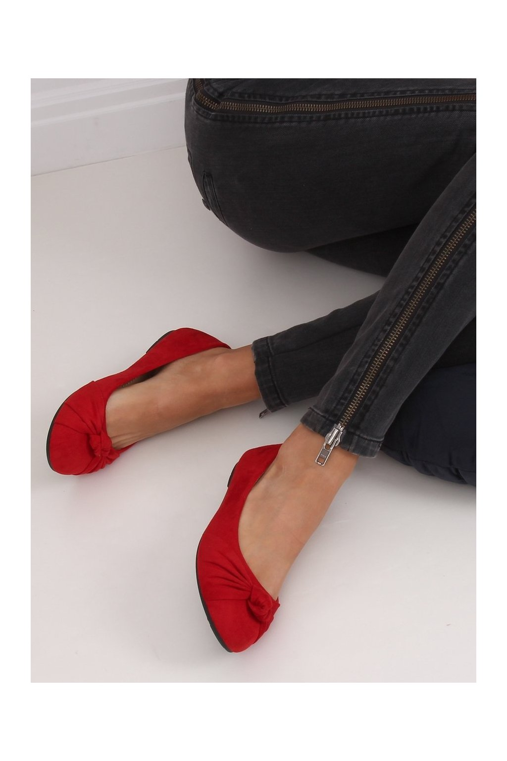 Dámske baleríny červené 8F62