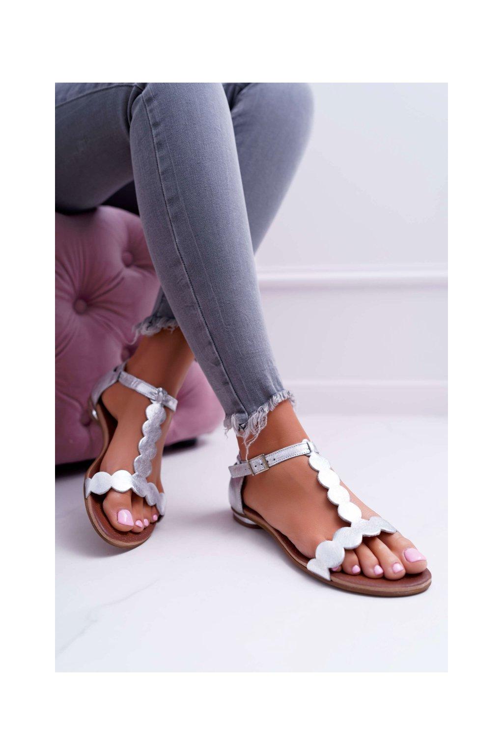 Dámske kožené Sandále strieborné Nicole NJSK 2403 Melbourne