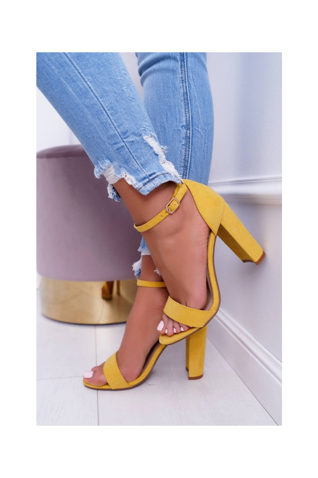 Dámske Sandále na podpätku Semišové žlté Anastasie NJSK J76-12