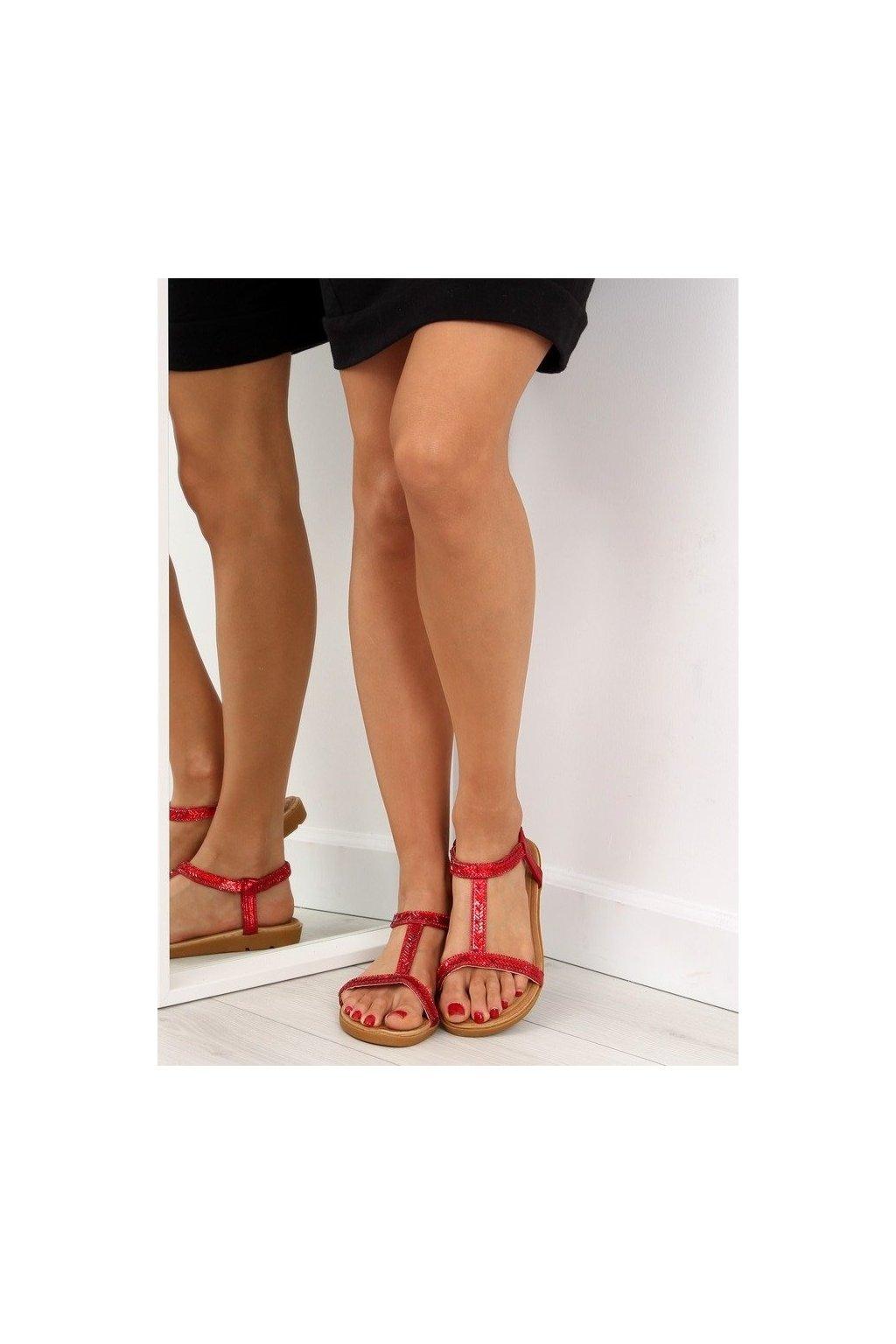 Dámske sandále červené na plochom podpätku NJSK FM5035