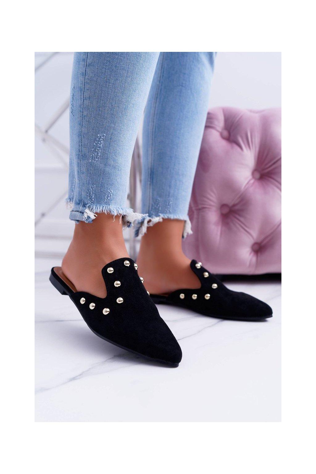 Lu Boo dámske papuče Mule Seniorita čierne NJSK 978-A3