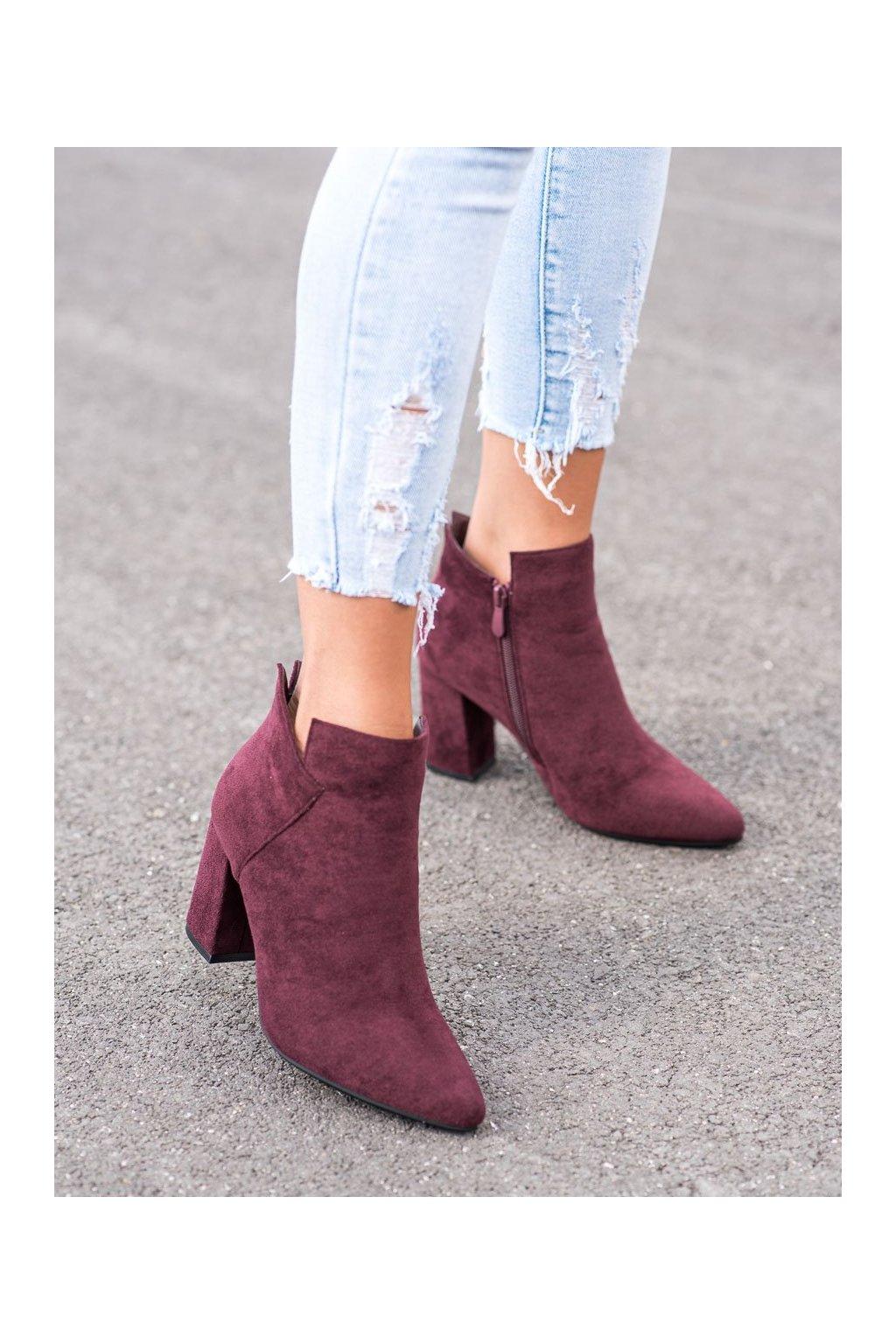 Červené dámske topánky Vinceza kod HX21-16178BUR