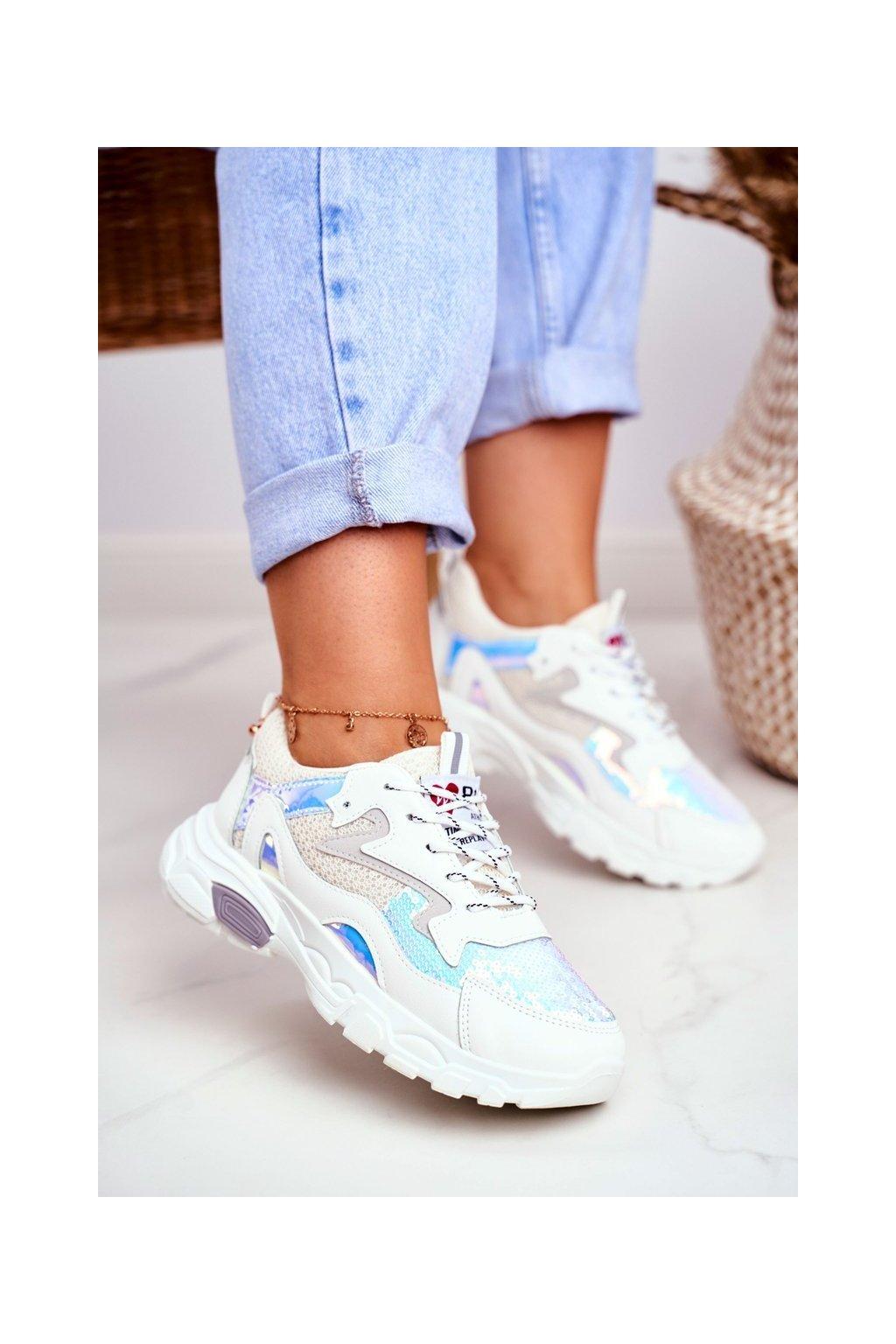 Dámske tenisky farba biela kód obuvi D58-1 WHITE