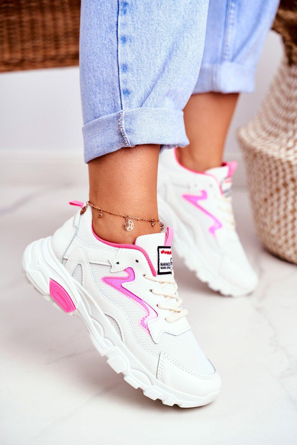 Dámske tenisky farba biela kód obuvi D58-1 FUCHSIA