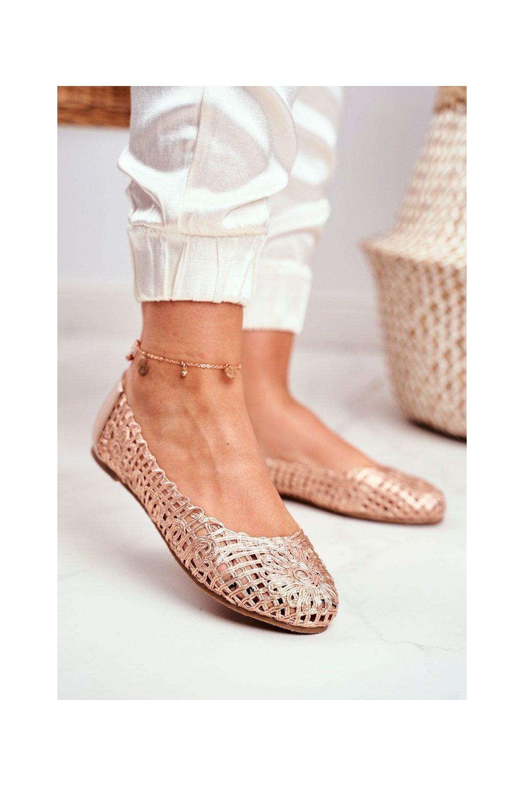 Dámske balerínky farba ružová kód obuvi B668-1 CHAMPAGNE