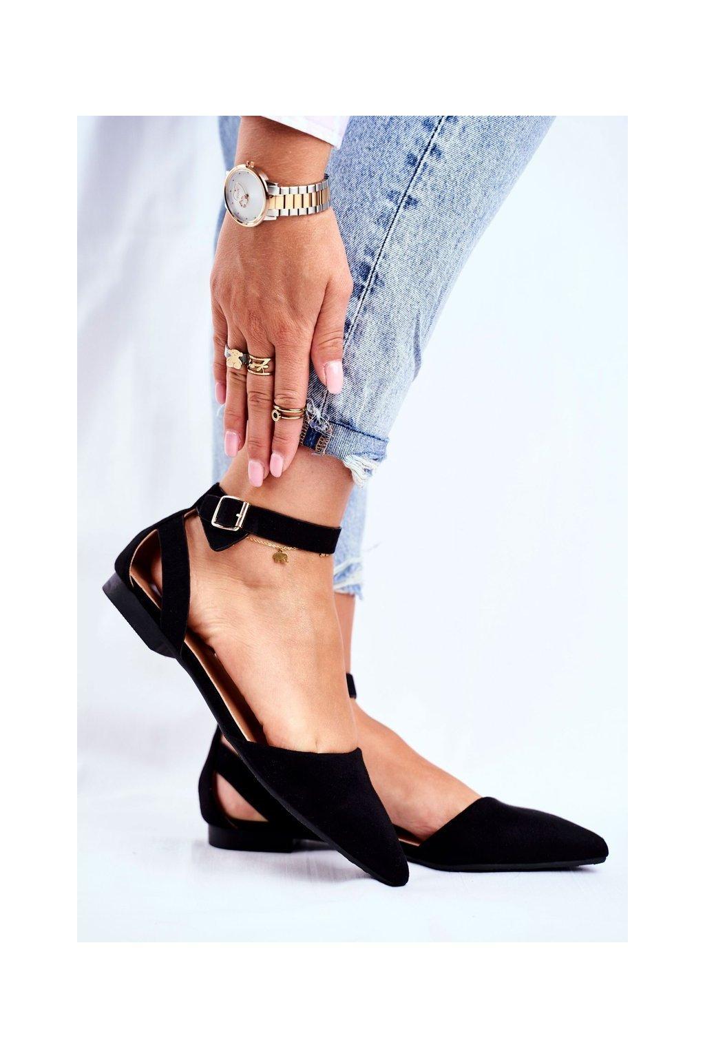 Dámske balerínky farba čierna kód obuvi CL73 BLK