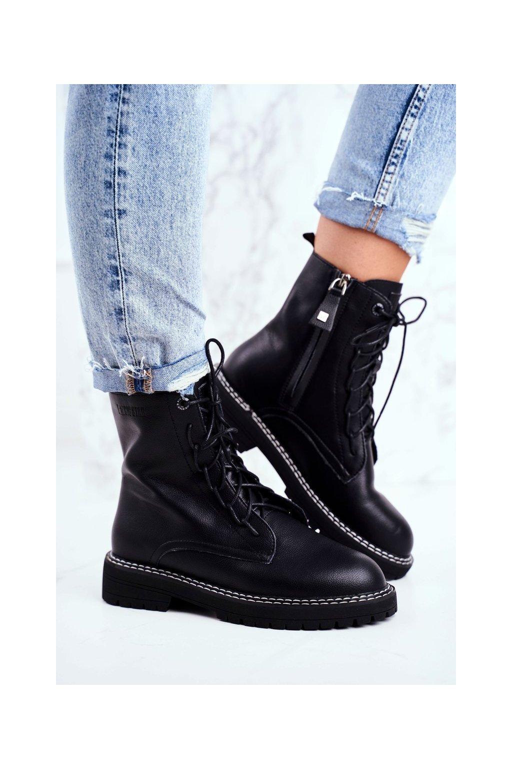 Členkové topánky na podpätku farba čierna kód obuvi GG274596 BLK