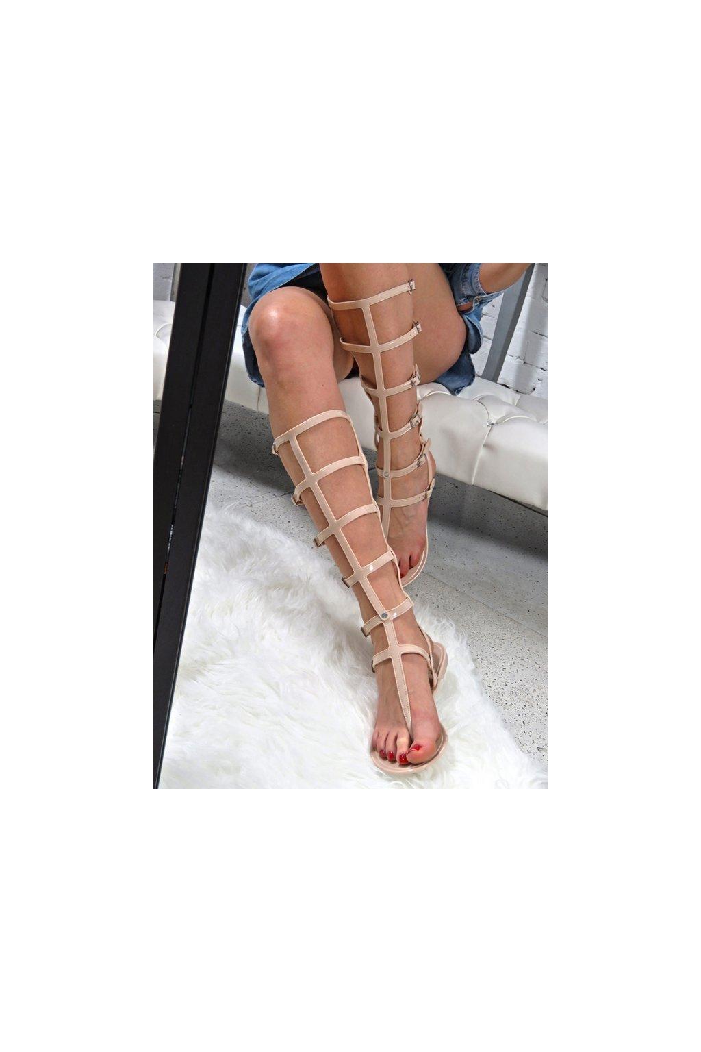 Dámske ploché sandále farba hnedá kód obuvi ZY38-051-26 BEIGE