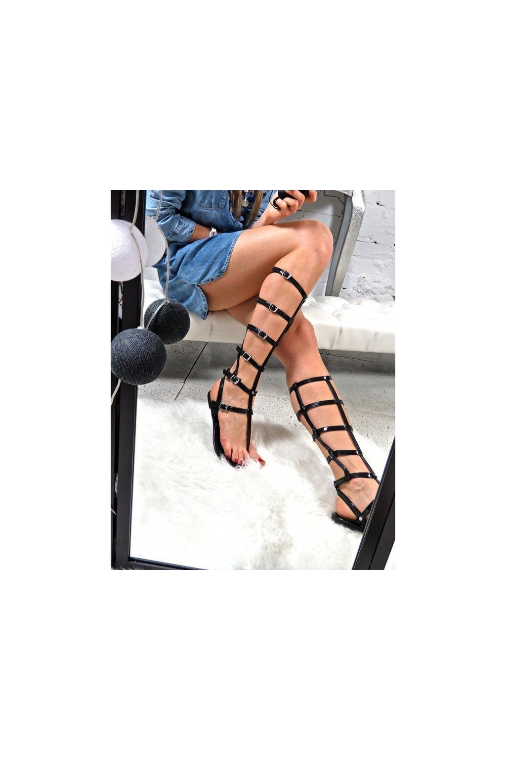 Dámske ploché sandále farba čierna kód obuvi ZY38-051-26 BLK