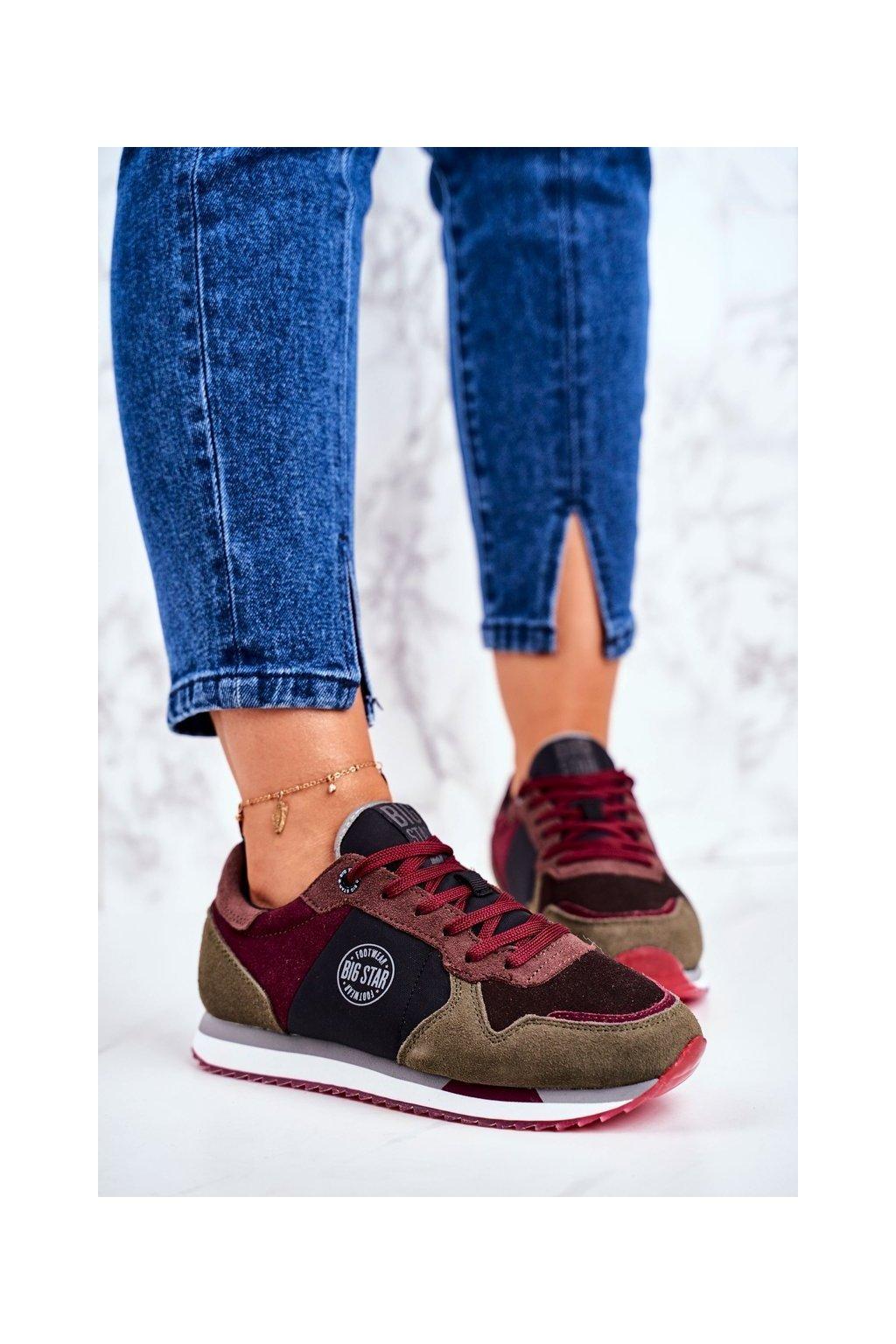 Dámske tenisky farba sivá kód obuvi GG274459 GREY/WINE