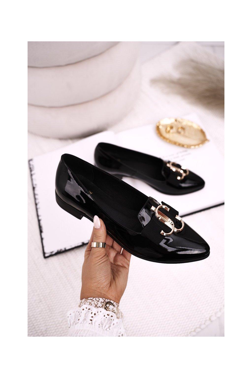 Dámske mokasíny farba čierna kód obuvi 2588/035 SHINY BLK