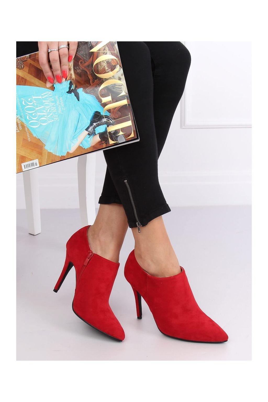 Dámske členkové topánky červené na ihlovom podpätku TX-1850