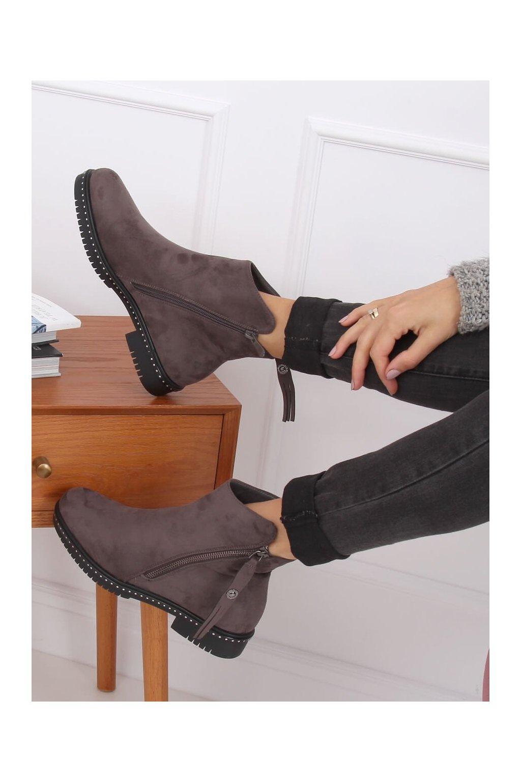 Dámske členkové topánky sivé na plochom podpätku 6332
