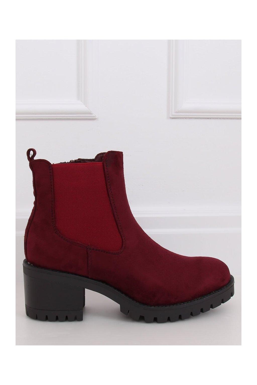 Dámske členkové topánky červené na širokom podpätku 4935