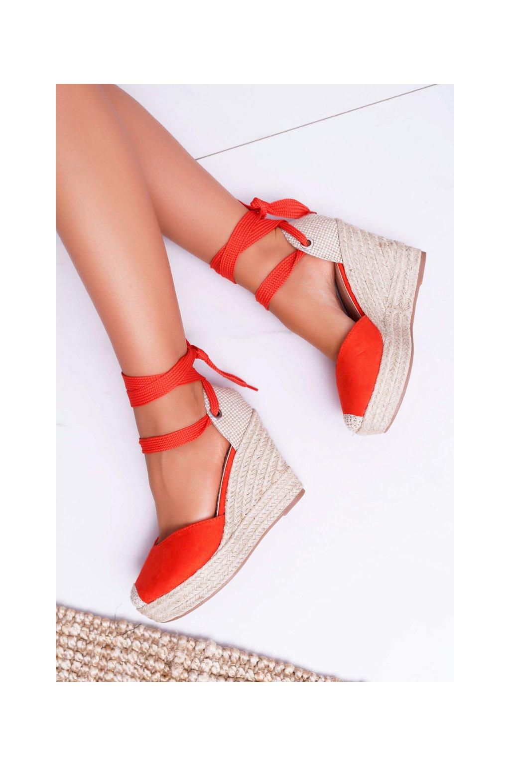 Dámske Sandále na platforme oranžové Tahaya NJSK 4398 Orange