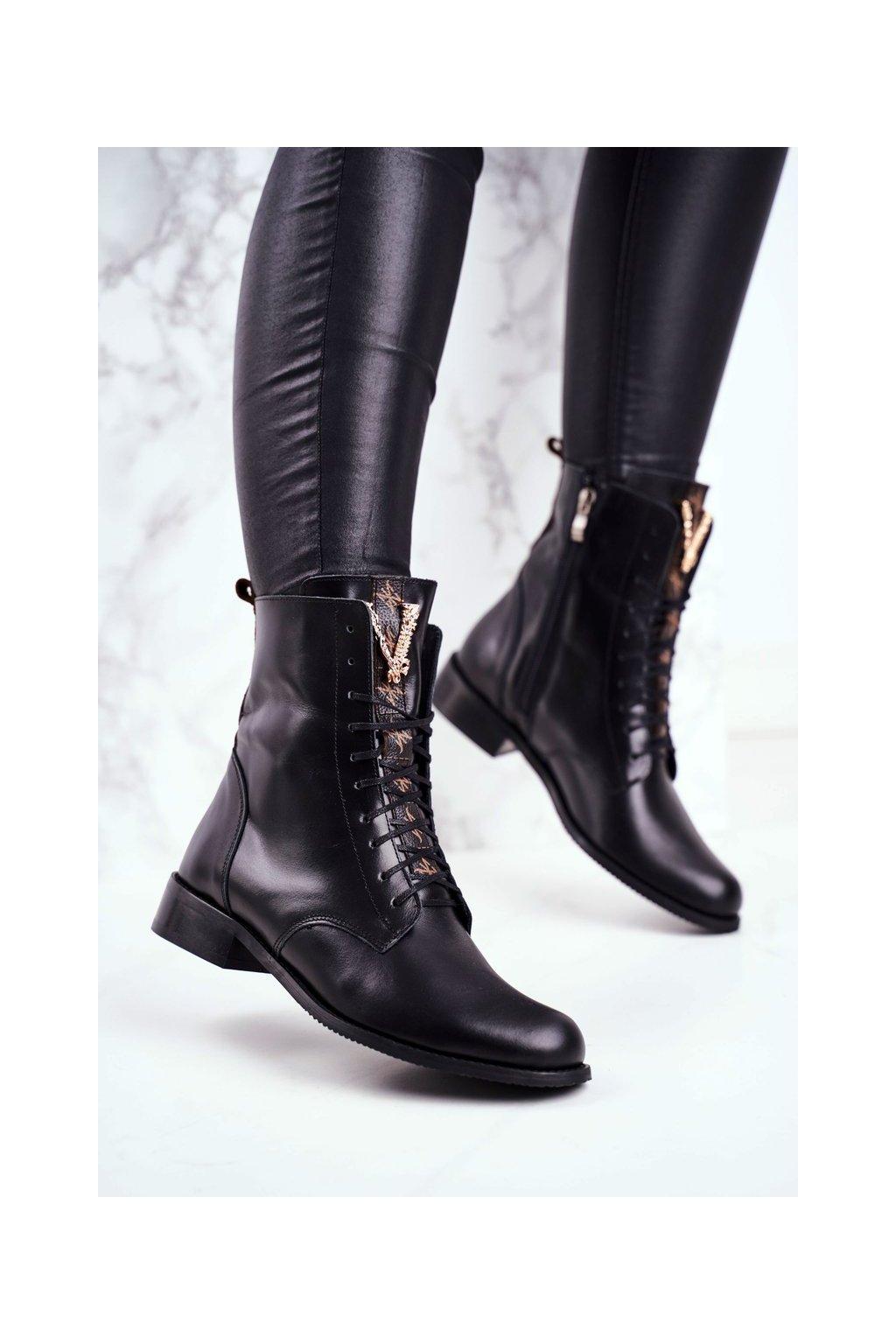 Členkové topánky na podpätku farba čierna kód obuvi 2593 001 BLK