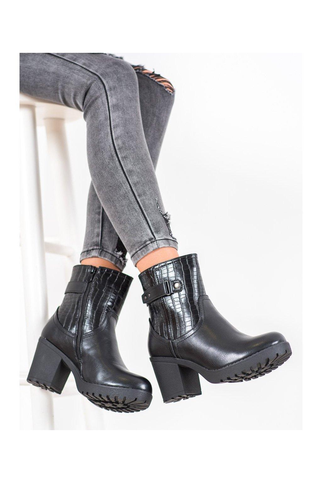 Čierne dámske topánky J. star NJSK A8111/B-B
