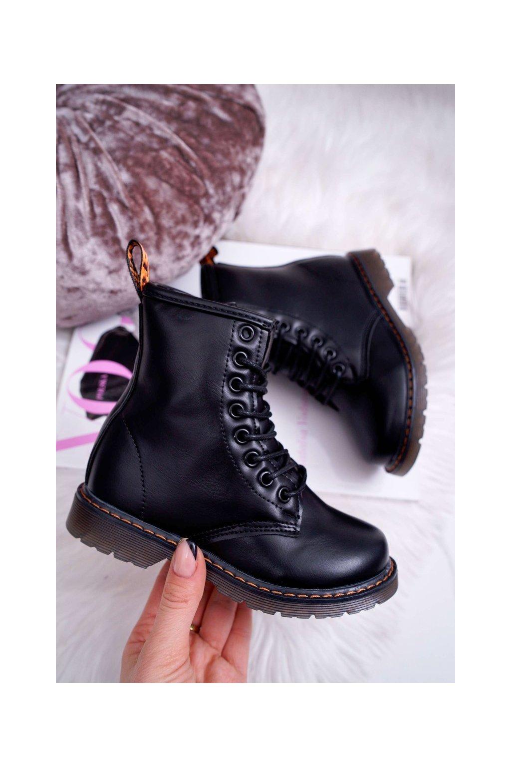 Detské topánky zateplené so zipsom Lakované čierne Goopy NJSK 20322