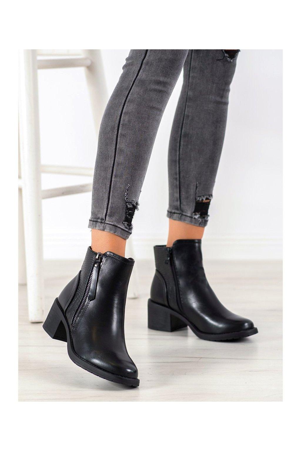 Čierne dámske topánky Small swan kod F807B
