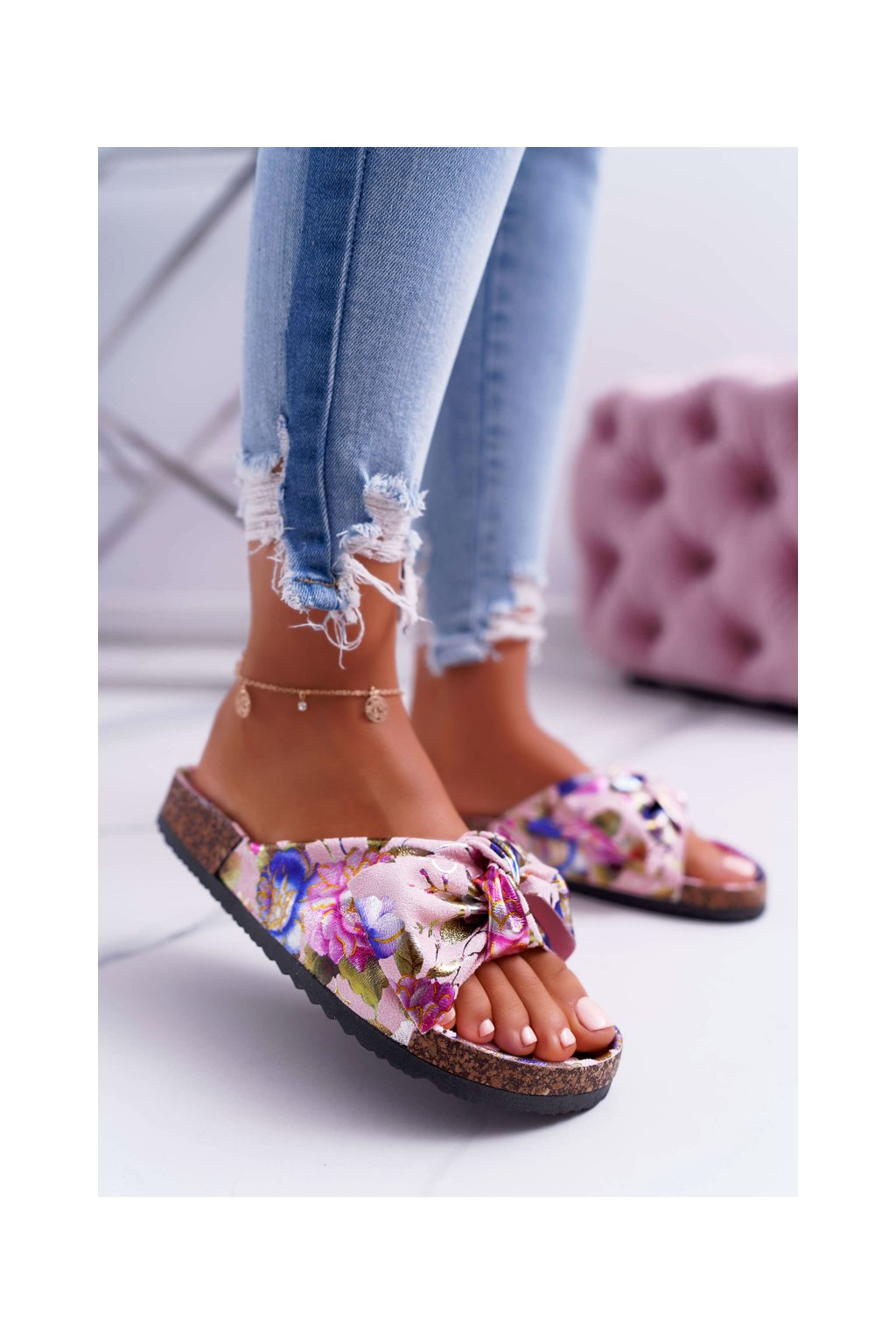 Dámske korkové papuče s mašľou kvety ružové Wendy NJSK RS-6